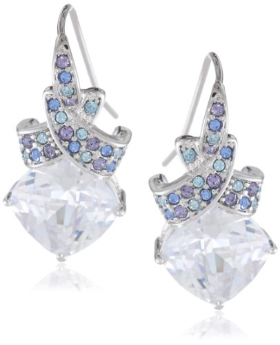 Bronze with Simulated Diamond and Multi-Colored Swarovski Crystal Crossover Drop Earrings