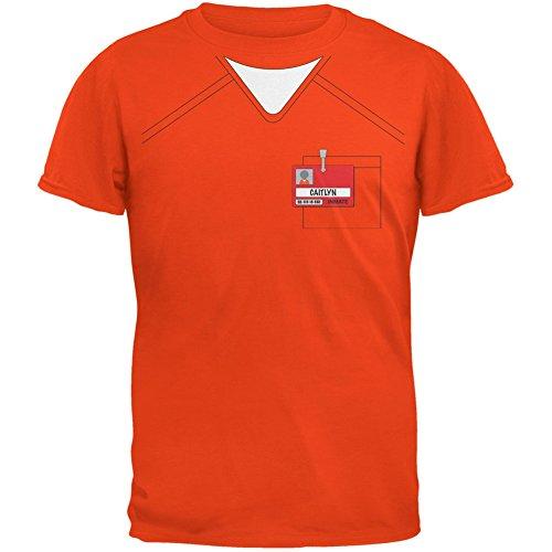 [Caitlyn Jenner Prisoner Uniform Costume Orange Adult T-Shirt - Large] (Caitlyn Costumes)