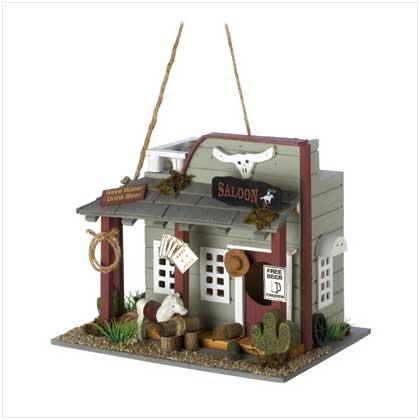 Gifts & Decor Wooden Wild West Horse Saloon Bird House