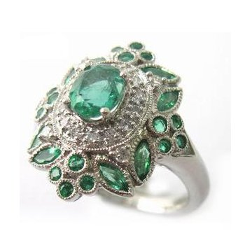 Platinum Emerald and Diamond Vintage Style Engagement Ring