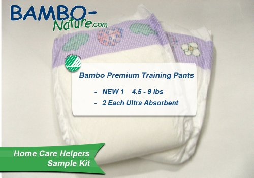 BAMBO® Ultra Absorbent Chlorine-Free Eco-Friendly Baby Diapers - Size 1 - Newborn - Fits 4.4 to 8.8 lbs - Sample (2)