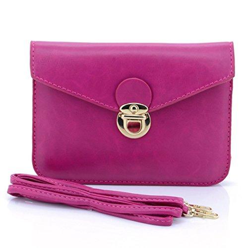 U-volte da donna, stile retrò, con bottoni, colori a tracolla, in pelle PU, a portafoglio rosso  Rosso S