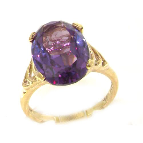 Luxury 9ct Yellow Gold Large Synthetic Alexandrite Solitaire English Ring - Size L 1/2 - Finger Sizes K to Z Available - Perfect gift for Anniversary, Engagement, Wedding, First Child