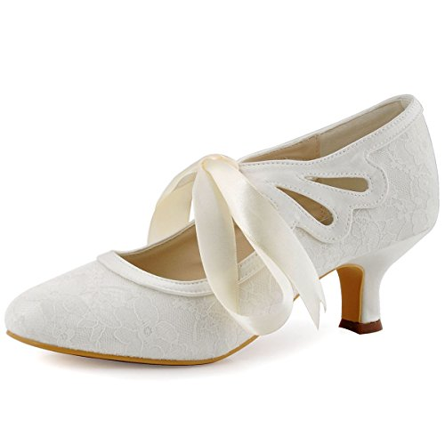 ElegantPark Women's Mary Jane Cut Out Closed Toe Low Heel Pumps Lace Wedding Dress Shoes Ivory US 8