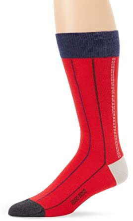 BOSS HUGO BOSS Men's Pin Stripe Dress Sock, Red, One Size