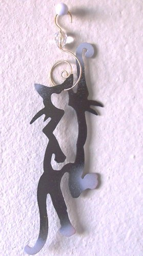 Crazy Cat Ornament/Suncatcher by Black Cat Artworks