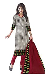Sree Impex Women's Cotton Unstitched Dress Material (SI-CO-50_White_Free Size)