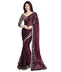 Om Shantam Sarees Women's Georgette Brasso Saree with Blouse (Omkhushi_Majanta)