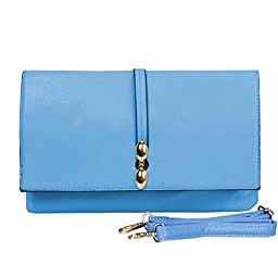 BMC Classically Chic Sedona Blue Faux Leather Large Envelope Style Fashion Accessory Statement Clutch