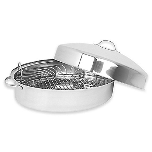 Oval Domed Covered Roaster Includes a Stainless Steel Rack with Sturdy Handles, Silver Polished Finish (18