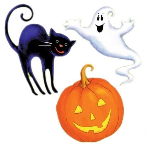 [3 Assorted Halloween Scary Fun Ghost Cat Pumpkin Cutouts Decorations] (Halloween Cut Out Patterns For Pumpkins)