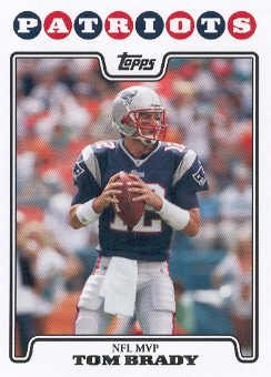 2008 Topps # 328 Tom Brady MVP Most Valuable Player - New England Patriots - NFL Trading Cards