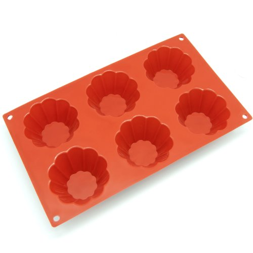 Freshware 6-Cavity Brioche and Pudding Silicone Mold and Baking Pan