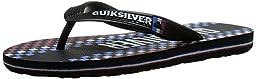 Quiksilver Molokai Art Youth Flip Flop (Toddler/Little Kid/Big Kid), Black/Blue/White, 10 M US Toddler