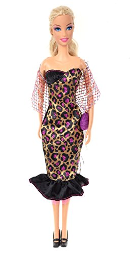 Banana Kong Doll's Fashion Leopard Evening Party Dress+Accessories Set - 1
