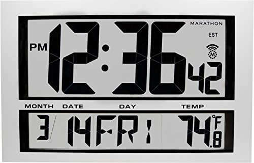 MARATHON CL030025 Jumbo Atomic Wall Clock with 6 Time Zones, Indoor Temperature, Date & Stand - Batteries Included