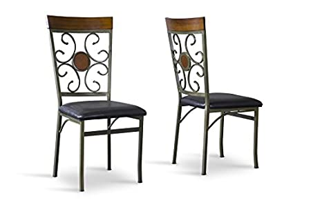 Modica Wood and Metal Contemporary Dining Chair with Chanasya Polish Cloth Bundle (Set of Four)