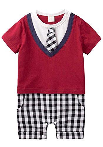 (エーケー) AK Style ベビー フォーマル 半袖 スーツ ロンパース 春 夏 男の子 子供服 150601-1(レッド-80)