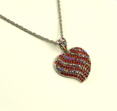 Jay Jewellery - Red CZ & rhinestone crystal gold plated heart necklace