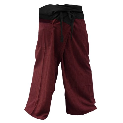 2 Tone Thai Fisherman Pants Yoga Trousers Free Size Plus Size Cotton Burgundy and Charcoal By Hugdethailand