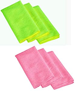 Cartman Microfiber Cleaning Cloth in Black Color 14 in x 14 in, 30pk (Green/Pink) by Cartman