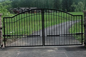 - Mighty Mule Driveway Gate - Double Gate, Biscayne, 14ft.W x 6ft.H, Model# G2714-KIT
