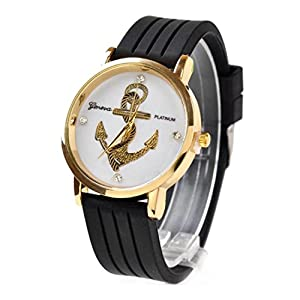 Willtoo® Unisex Anchors Silicone Analog Quartz Wrist Watch Black