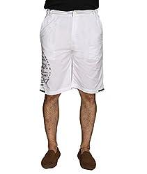 LD Active LSH263 Men's Regular Fit Poly Cotton Shorts - White (Size : 36)