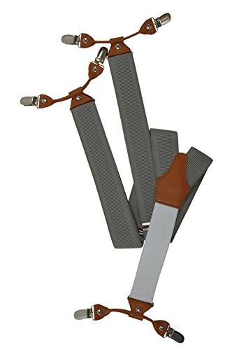 Formal Bretelle, 6 clip modello con posteriore Bianco / Pelle Marrone - 3,5cm. Grigio Luce