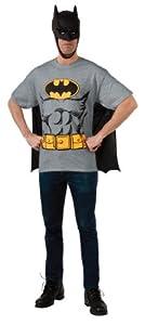 DC Comics Batman T-Shirt With Cape And Mask, Black, Large