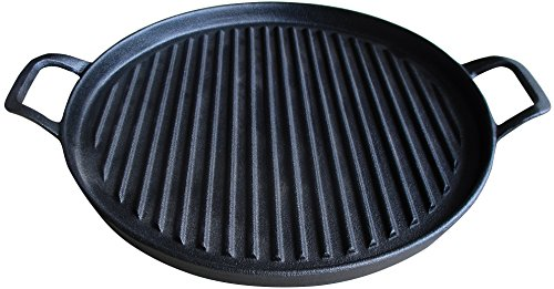 Cast Iron Griddle Pizza Pan - Pre Seasoned Grill (New Design), Black by Utopia Kitchen (Little Cast Iron compare prices)