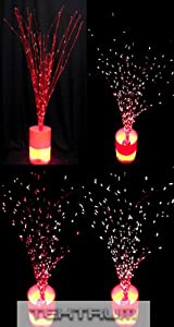 """Tektrum 32"""" Red Twig Tree With Rainbow Color Changing Fiber Optic Lights For Christmas/Holiday/Party"""