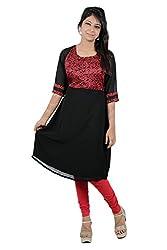 Kittus Fashion House Women's Poly Rayon A-Line Kurti (Kskrt-1080_Black_Medium)