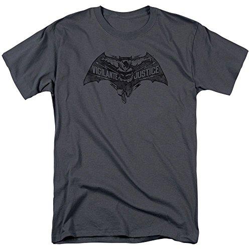 [DC Batman V vs Superman Dawn of Justice Movie Bat Vigilante Justice Logo T-shirt] (Batman Costume Vigilante)