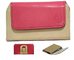 Jo Jo A4 Nillofer Belt Case Mobile Leather Carry Pouch Holder Cover Clip Samsung Galaxy Music S6010 Red Beige