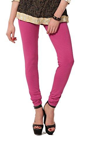 Women's solid Pink Cotton-Lycra Leggings/Churidars