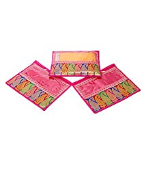 Kuber Industries Zari Border Saree Cover Set of 3 Pcs
