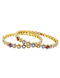 Aabhushan Jewels Ruby Look Gold Plated American Diamond Bangles For Women - B00WUE8QXM
