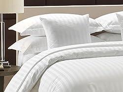 White Cotton 220 TC Satin Stripped Premium Quilt/Duvet Cover with Zipper (90