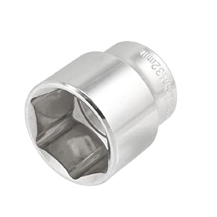 Banggood-32mm-6-Points-Front-Axle-Nut-Silver-Tone-Socket-for-1/2Square-Drive