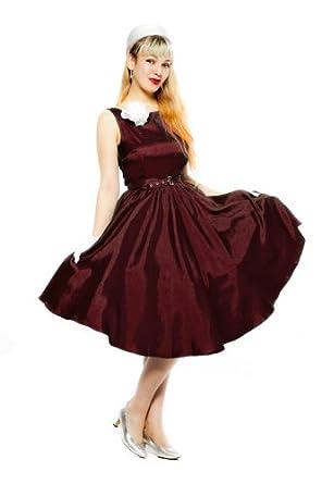 Party Dress - Burgundy Satin (Size Large (38))