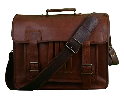 Shaista Handicraft Hand Made Cart Auth Real Leather Messenger Laptop Briefcase Satchel Bag