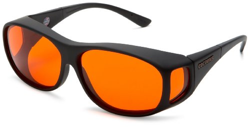 Cocoons C402 Med Slim Line Low Vision Sunglasses,Black Frame/Orange Lens,One Size