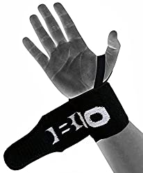 KOBO Power Wrist Weight Lifting Training Gym Straps Black With Thumb Support