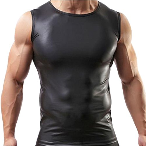iiniim Men's Black Sleeveless T-Shirt Undershirt Tank Top Vest Black L (Mens Wet Look Tank Top compare prices)