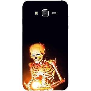 Casotec Skeleton Bone Fire Design Hard Back Case Cover for Samsung Galaxy J7