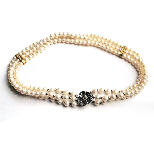 3 Strands Freshwater Cultured White Pearl Necklace