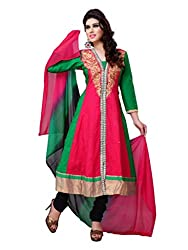 Diva Fusion Womens Cotton Anarkali Dress Material (Dfa121 _Pink And Green _Free Size)