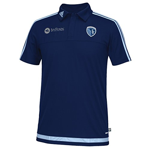 Sporting Kansas City Adidas MLS Climacool Authenic On Field Polo Shirt Camicia
