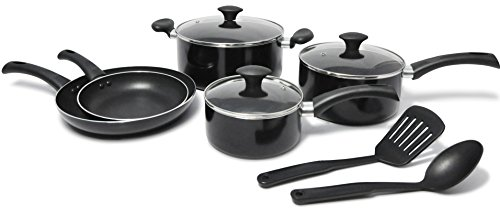 WearEver Nonstick Cookware Set, 10-Piece, Black